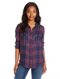Amazoncom PAIGE Womenand39s Mya Shirt In Benson Dark Ink Blue and Red Plaid Clothing at Amazon