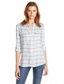 Amazoncom PAIGE Womenand39s Trudy Shirt In Viscose Plaid Clothing at Amazon