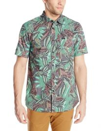Amazoncom RVCA Menand39s Jungle Leaves Shirt Clothing in green at Amazon