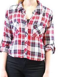 Amazoncom Rails Womenand39s Rian Rayon Cropped Long Sleeve Buttondown Shirt CranberryMidnight S Clothing at Amazon