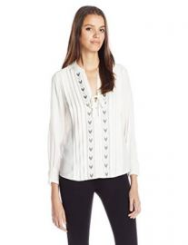 Amazoncom Rebecca Taylor Womenand39s Silk Long-Sleeve Chevron Embroidered Blouse Clothing at Amazon