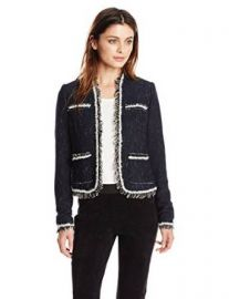 Amazoncom Rebecca Taylor Womenand39s Stretch Rio Tweed Jacket Clothing at Amazon