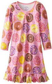 Amazoncom Saras Prints Little Girlsand39 Cotton Puffed Sleeve Gown Donuts Pink Clothing at Amazon