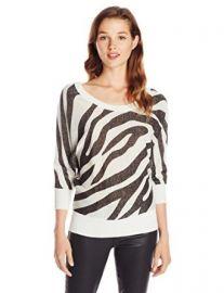 Amazoncom XOXO Juniors Zebra Button Back Pullover Sweater Ivory Medium Clothing at Amazon