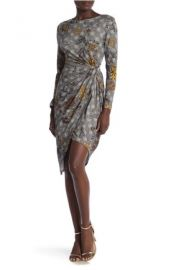 Amelia 2KN5135Z508 Gold flower Knit Dress at Amelia