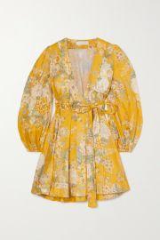 Amelie floral-print linen mini wrap dress at Net A Porter