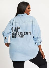 American Dream Denim Top by Dubgee by Whoopi at Ashley Stewart