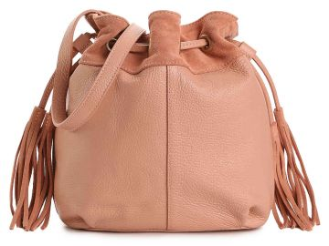 American Eagle Drawstring Leather Bucket Bag at DSW