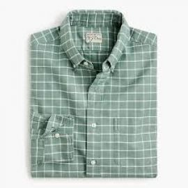 American Pima cotton oxford shirt with mechanical stretch in windowpane at J. Crew