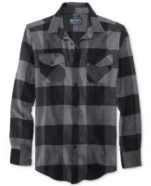 American Rag Frosty Plaid Flannel Shirt at Macys