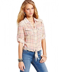 American Rag Juniors Top Long Sleeve Plaid-Print Tie-Front - Juniors Tops - Macys at Macys