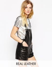 American Retro  American Retro Gabin Leather Short Dungarees at Asos