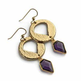 Amethyst Shield Earrings at Kathryn Designs