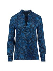 Amos Printed Textured Top by Alice  Olivia at Alice and Olivia