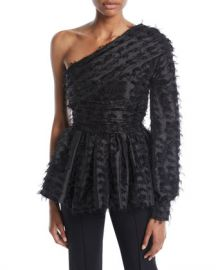 Anais Jourden Twinkle One-Sleeve Peplum Top at Neiman Marcus