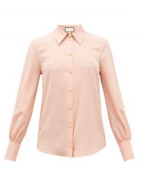 Anchor-button silk-crepe blouse at Matches