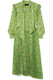 Andersson Bell - Scarf-detail pleated floral-print crepe midi dress at Net A Porter
