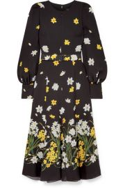 Andrew Gn - Belted floral-print silk midi dress at Net A Porter