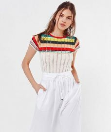Angele Striped Pointelle Sweater Tee by Urban Outfitters at Urban Outfitters