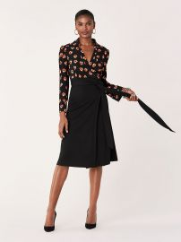 Angelina Collared Crepe Wrap Dress by Diane von Furstenberg at Diane von Furstenberg