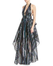 Angie Striped Organza Halter Gown by Milly at Orchard Mile