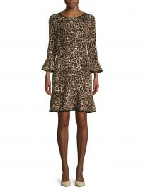 Animal-Print Bell-Sleeve Dress at Lord and Taylor