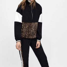 Animal Print Half Zip Sweatshirt by Zara at Zara