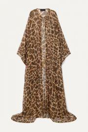 Animal-Print Metallic Fil Coupe Silk-Blend Chiffon Kaftan by Dundas at Net A Porter