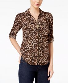 Animal-Print Zip-Up Utility Shirt at Macys