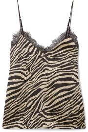 Anine Bing - Alicia lace-trimmed zebra-print silk-satin camisole at Net A Porter