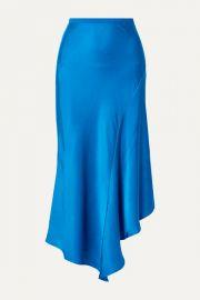 Anine Bing - Bailey asymmetric silk-charmeuse midi skirt at Net A Porter