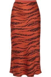 Anine Bing - Bar printed silk-satin midi skirt at Net A Porter