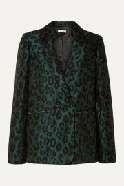 Anine Bing - Madeleine double-breasted leopard-jacquard blazer at Net A Porter