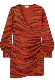 Anine Bing - Penelope printed silk-satin wrap mini dress at Net A Porter