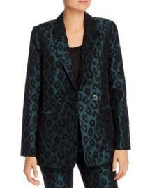 Anine Bing Madeleine Emerald Leopard Jacquard Blazer Women - Bloomingdale s at Bloomingdales