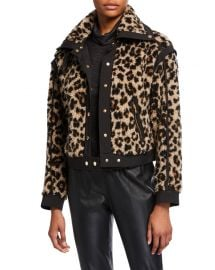 Anita Faux-Fur Snap-Front Jacket by Veronica Beard at Neiman Marcus