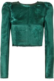 Ann Demeulemeester - Cropped frayed cotton-blend satin top at Net A Porter