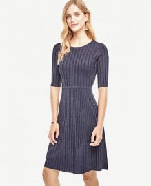 Ann Taylor Ribbed Flare Sweater Dress at Ann Taylor