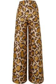 Anna Mason - Bay leopard-jacquard wide-leg pants at Net A Porter