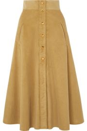 Anna Mason - Liv cotton-corduroy midi skirt at Net A Porter