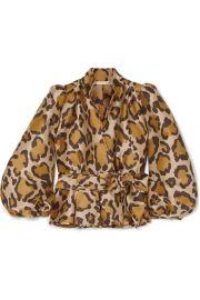 Anna Mason - Stella leopard-jacquard wrap blouse at Net A Porter