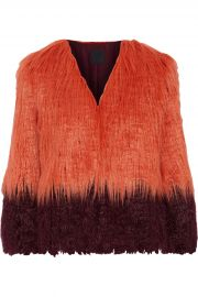 Anna Sui Papaya Two-tone Faux Fur Jacket at The Outnet