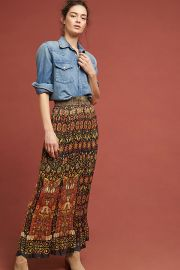 Anna Sui Pleated Maxi Skirt at Anthropologie