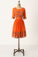 AnnaBeth's orange and gold Anthropologie dress at Anthropologie