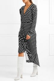 Annabel asymmetric ruched striped stretch-jersey dress by Preen by Thornton Bregazzi at Net A Porter