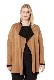 Anne Klein  Size Plus Double Knit Drape Front Cardigan at Amazon