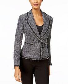 Anne Klein Fringed Tweed Blazer   Reviews - Jackets   Blazers - Women - Macy s at Macys