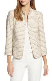 Anne Klein Tweed Mandarin Collar Jacket at Nordstrom