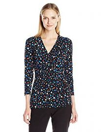 Anne Klein Women s Confetti Print Wrap Top at Amazon