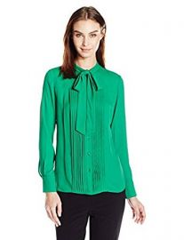 Anne Klein Women s Long Sleeve Bow Blouse at Amazon